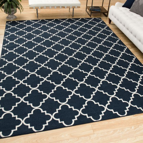 Mohawk Home Soho Fancy Trellis Navy Area Rug (7u00276 x 10u0027) by Mohawk Home