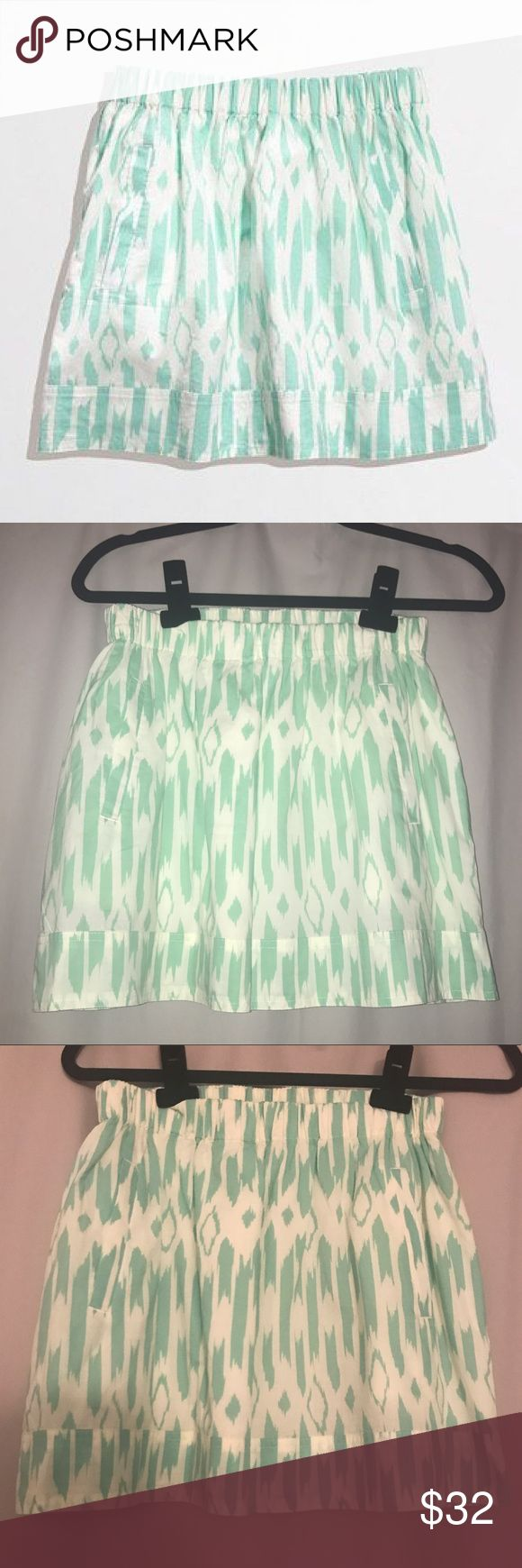 NWT J Crew Aztec Print Skirt with pockets! Brand new, never worn J Crew skirt with turquoise, mint aztec print with pockets! J. Crew Skirts