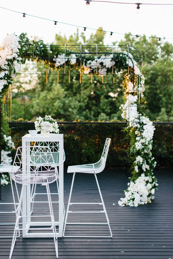 Brilliant - keep the ceremony arbor during the reception! Styling by The Style Co.
