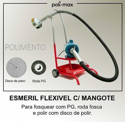 Esmeril Flexivel com Mangote  para fosquear com roda PG e para polir com Disco de polir