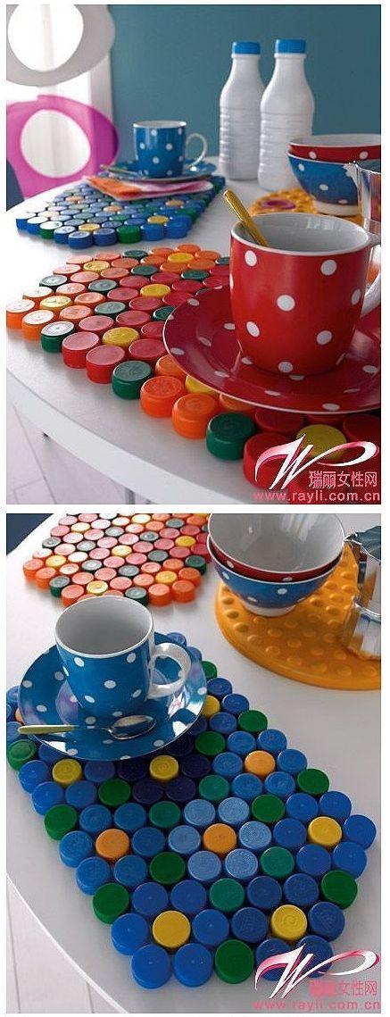 10 ideas con tapas de pl stico recicladas mantel de for Tapas de plastico