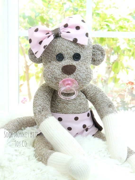 Sock Monkey Baby Doll with Pacifier by SockMonkeyBizzToyCo on Etsy