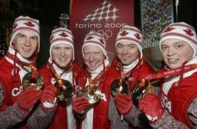 Members of the 2006 Gold Medal Curling Team in Turin, Italy. Brad Gushue, Mark Nichols, Russ Howard, Jamie Korab, and Mike Adam. Four of the five members of the team are from NL, Canada.