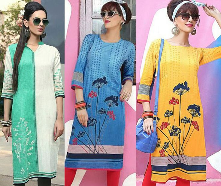 """""""Eighty percent of #success is showing up."""" Pack of 3 Designer Cotton Camrick Print #Kurtis"""
