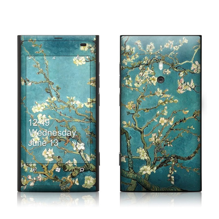 Blossoming Almond Tree. Vincent Van Gogh fine art seen here for Lumia 800 skin kit with matching screen wallpaper graphic    Your smartphone is now a mobile art gallery!