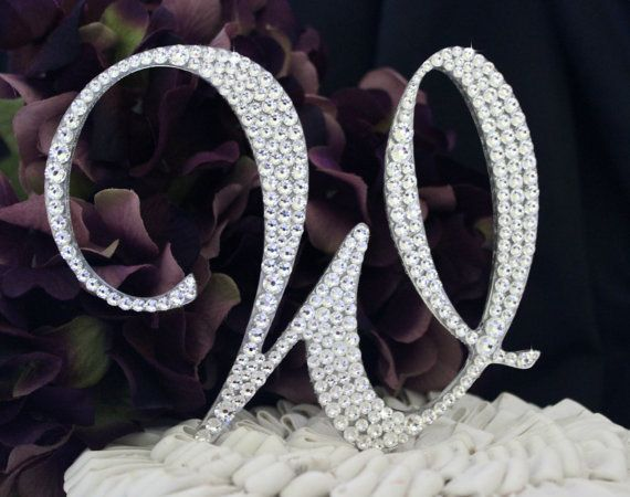 letter cake toppers monogram wedding cake topper decorated with swarovski 5506