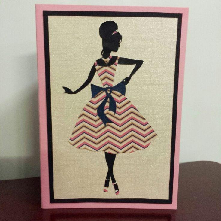 Fashion Silhouette Greeting Card #1960s #fashion #vintage #silhouette #dress #lady #greetingcard #handmadecards #petalsandperfumecards