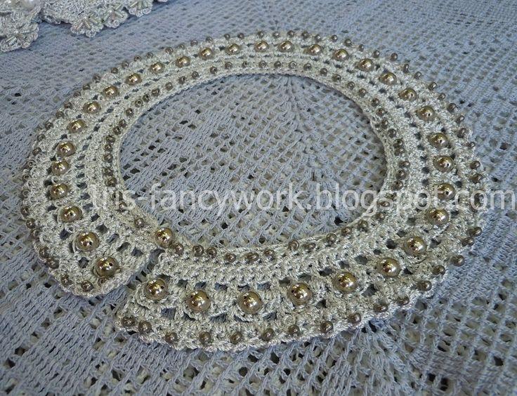 My Fancywork Blog: Связанный крючком круглый воротник металлик с вышивкой бусинами и бисером.