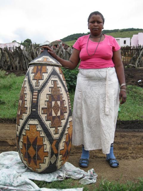 Very few weavers in the world can create a basket so spectacular. Khanyisile Mhlongo is from Zululand, South Africa. We were honored to represent her and sell this basket to a collector in the Seychelles. We always have a wonderful selection of smaller Zulu Ukhambas on our website. #FairTrade #Weaver #Basket