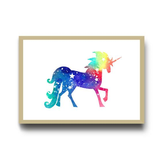 Rainbow Unicorn Nursery Print, Watercolour Art Print, Space Unicorn Art