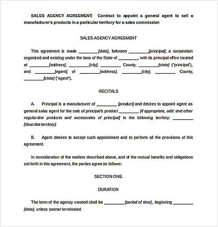266 best agreement template images on Pinterest Pdf, Resume - sales agent contracts