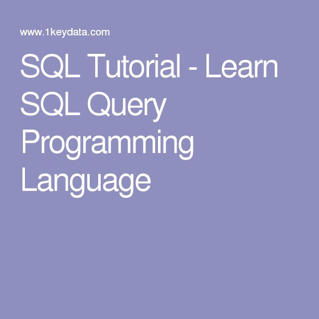 Sql Language Tutorial Pdf