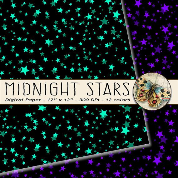 Stars Digital Paper Night Sky Digital Paper 12 by TheArtBoxDesigns