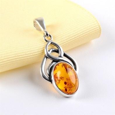 Celtic Amber Pendant