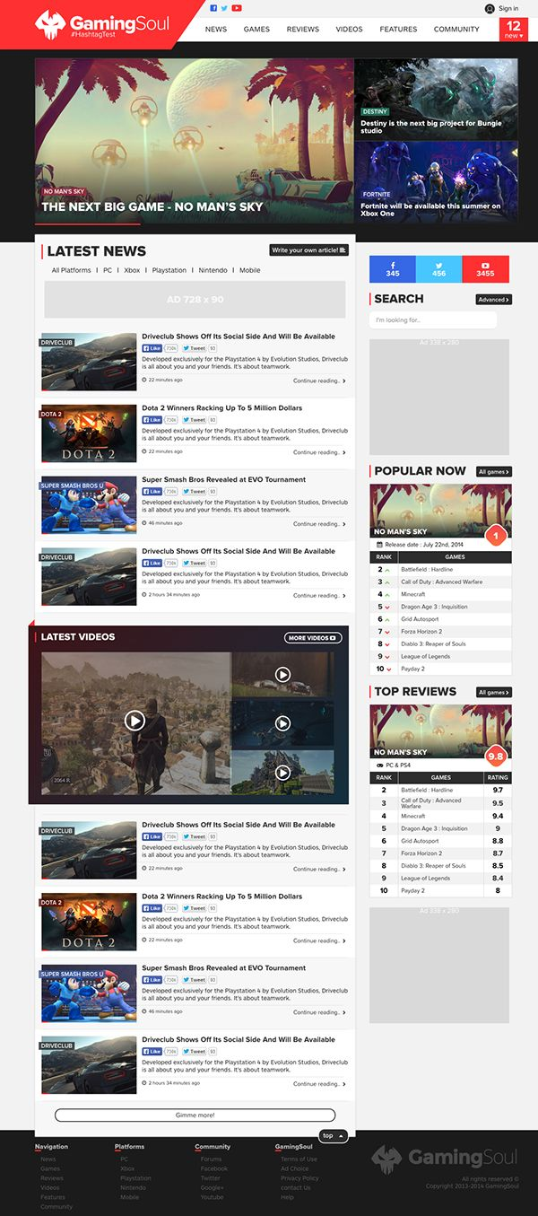 GamingSoul - Upcoming redesign by Erik Cloutier, via Behance