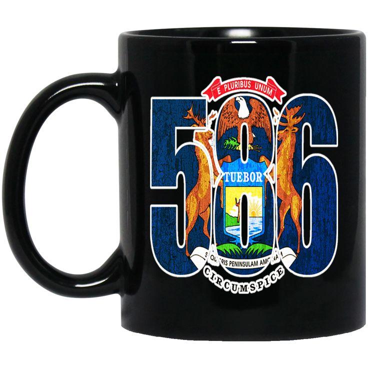 586 MICHIGAN AREA CODE FLAG BM11OZ 11 oz. Black Mug