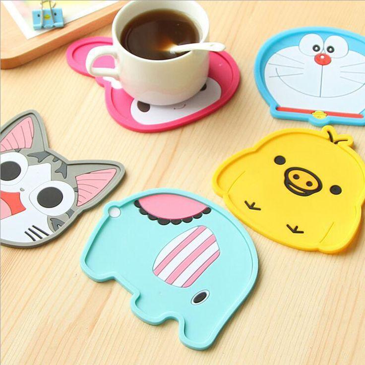 Free Shipping  Silicone Coasters Cup Cushion Holder Cartoon animal sea-maid coffee Coasters Cup Mat