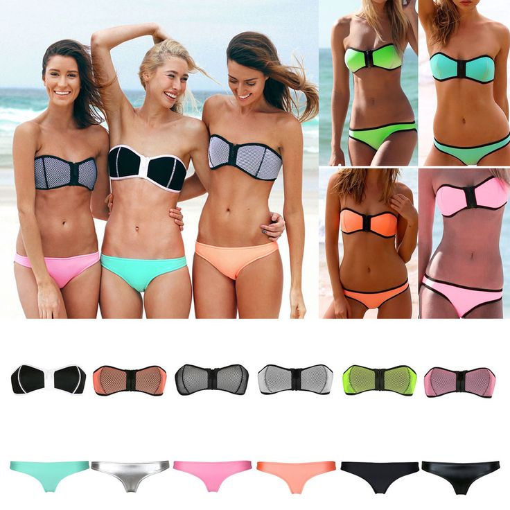 Sexy NEOPRENE Triangle BIKINI Set Strapless Push Up zipper Bra Swimwear Swimsuit #Unbranded #Bikini