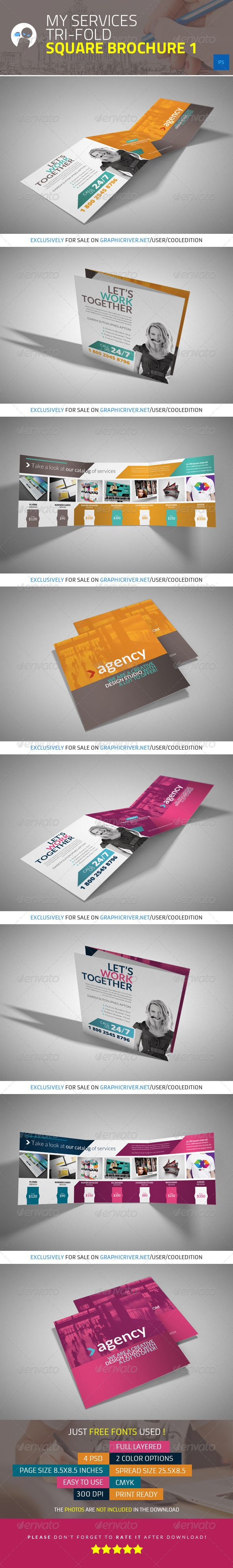 My Services - Tri-fold Square Brochure 1 - Brochures Print Templates @Treefrog Marketing