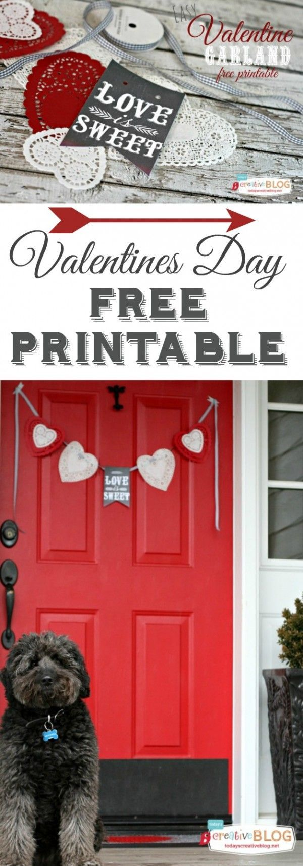 Valentines Day Free Printable Banner | Valentine's Day decor is easy with this free printable. http://TodaysCreativeLife.com