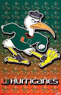 University of Miami HURRICANES Logo Poster  - Available at www.sportsposterwarehouse.com