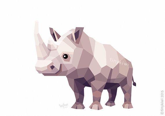 Rhino, Geometric print, Original illustration, Animal print, Minimal art, Nursery wall art