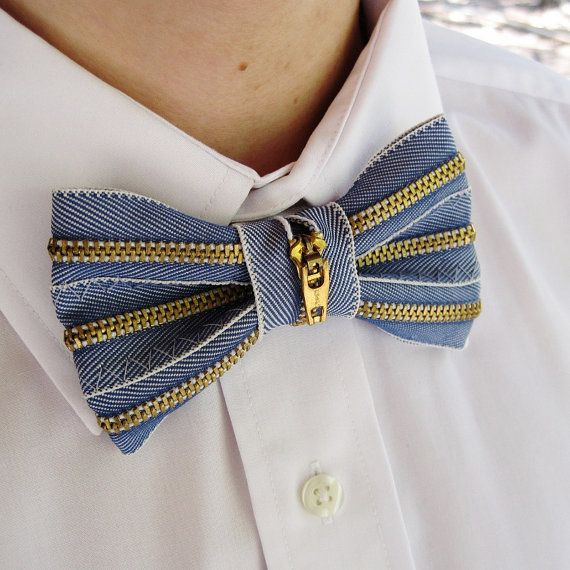 Upcycled Denim Zipper Mens Bow Tie