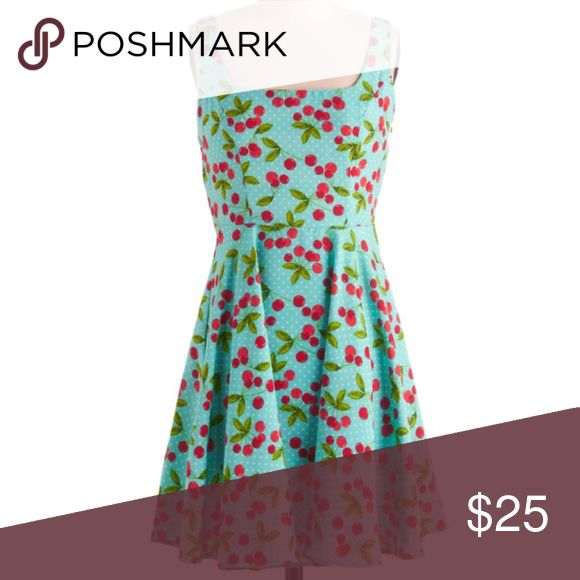 ModCloth Retro Cherry Very Berry Charming Dress ✨ Bundle & Save, No Trade, Perfect Condition but Missing Size Tag (Measurements Match a Large) ✨ Tags: Pinup Swing Polka Dot Modcloth Dresses Mini