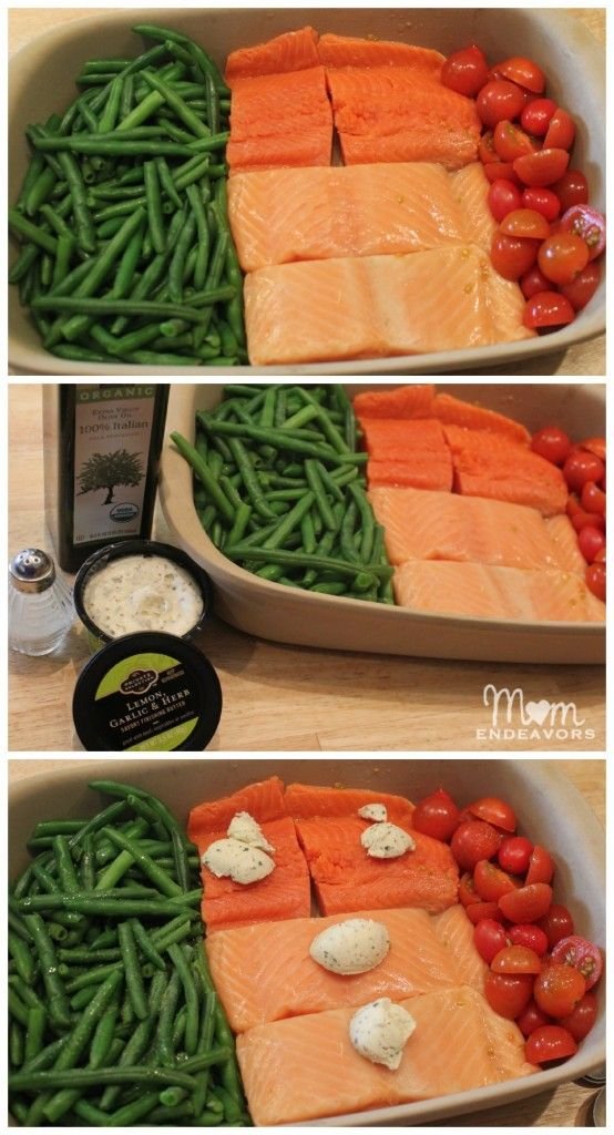 One Dish Dinner Salmon  Vegetables!! Easy to prepare with only 1 dish to clean!