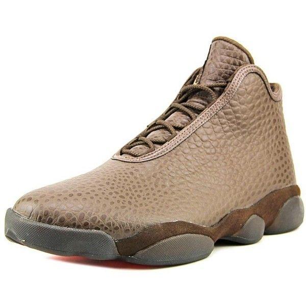 Jordan Jordan Horizon Premium Men Round Toe Leather Brown Sneakers ($207) ❤ liked on Polyvore featuring men's fashion, men's shoes, men's sneakers, brown, shoes, mens leather sneakers, mens brown leather sneakers, mens sneakers, mens brown shoes and mens brown leather shoes