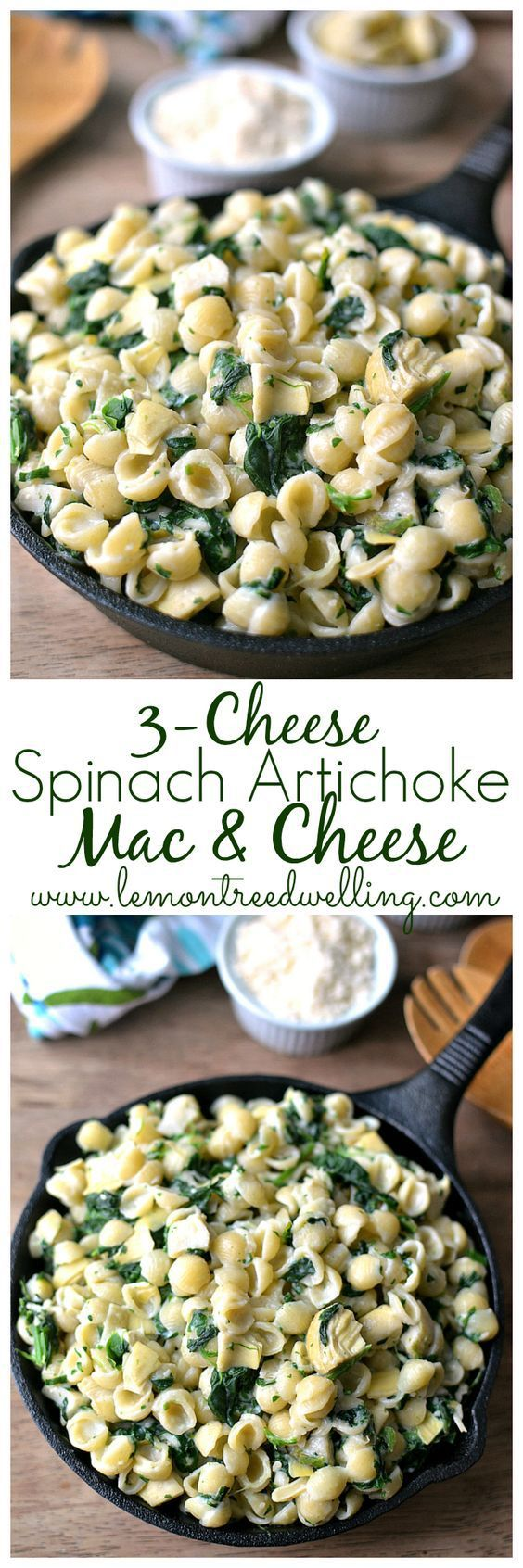 Savory yumminess!! (is that even a word? – it is now!)  2 boxes Horizon Organic Pasta Shells & White Cheddar Cheese 5 oz. chopped frozen spinach, thawed 1 c. canned artichoke hearts…