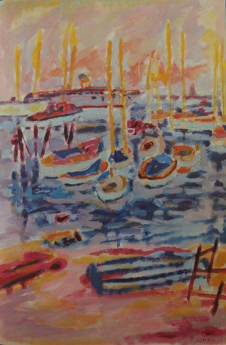 """Jules Cavailles - Carnet de Cannes  Jules Cavailles - Carnet de CannesIn-4 hardcover onder dekking en turquoise doek geval.Geïllustreerd boekje met tekeningen door Jules CAVAILLÈS 24 tekeningen (met inbegrip van 5 in kleur) volledige pagina vierkleurendruk reproducties.Editie La Bibliothèque des Arts Paris 1967-350 exemplaren.Op vellum aan de tank 35 x 23 cm.-INFORMATIE: De twaalfde volume van de collectie """"Carnet d'artistes"""" (kunstenaars boek) gedrukt op het artistieke persen van Lüthi en…"""