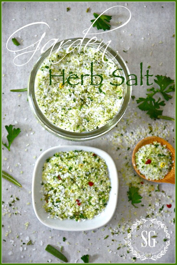 GARDEN HERB SALT-Delicous salt with fresh garden herb flavors- So easy to make.-stonegableblog.com