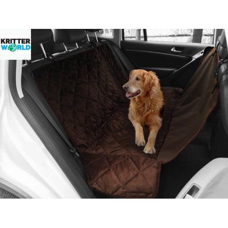 KritterWorld Pet Seat Cover Auto Back Rear Seat Barrier, Waterproof Dog Hammock Car Seat Cover with Protector Pad AntiSlip for Rear SUV Trucks Cars with Bench or Bucket Car Seat Extra Side Flaps