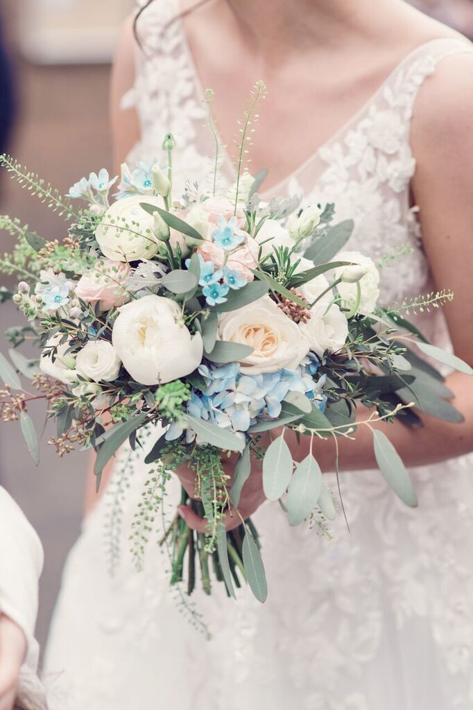 Beautiful Spring Bridal Bouquet Blush Ivory And Pale Blue