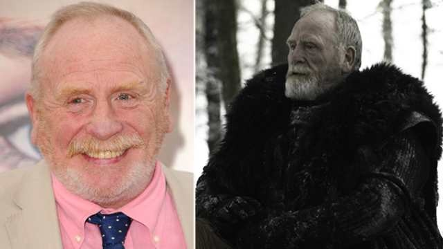 James Cosmo at the Los Angeles 'Game of Thrones' premiere (left) and in 'GOT' Season 2 (right). Link to Access Hollywood article: Game Of Thrones: James Cosmo Talks Lord Commander Mormont's Dramatic Scene At Craster's Keep (Spoiler Alert!)