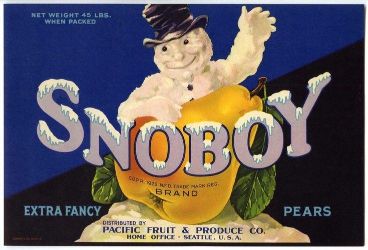 SNOBOY~SNOWMAN~VINTAGE 1940s AUTHENTIC SEATTLE WASHINGTON PEAR FRUIT CRATE LABEL #Snoboy #CrateLabels