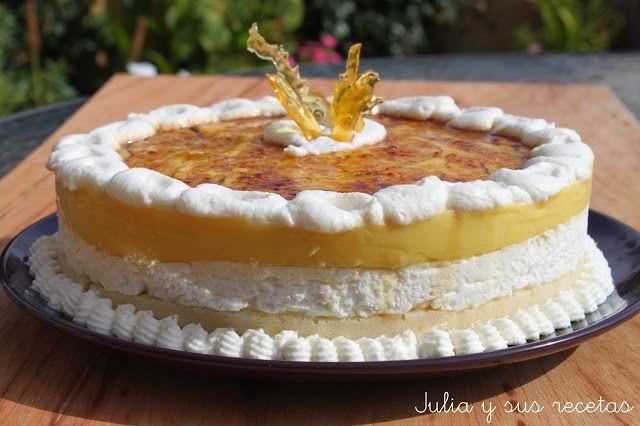 tartas, tarta de nata y crema, tartas de nata, tarta de crema pastelera, tarta goxua, recetas de tartas sin horno, recetas de tartas, Julia y sus recetas