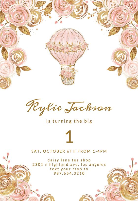 Glitter Hot Air Balloon - Birthday Invitation Template ...