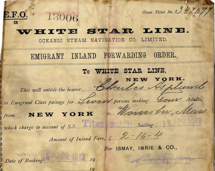 A photograph released by Henry Aldridge & Son/Ho Auction House in Wiltshire, Britain, 18 April 2008, shows an extremely rare Titanic passenger ticket. They were the auctioneers handling the complete collection of the last American Titanic Survivor Miss Lillian Asplund. The collection was comprised of a number of significant items including a pocket watch, one of only a handful of remaining tickets for the Titanic's maiden voyage.