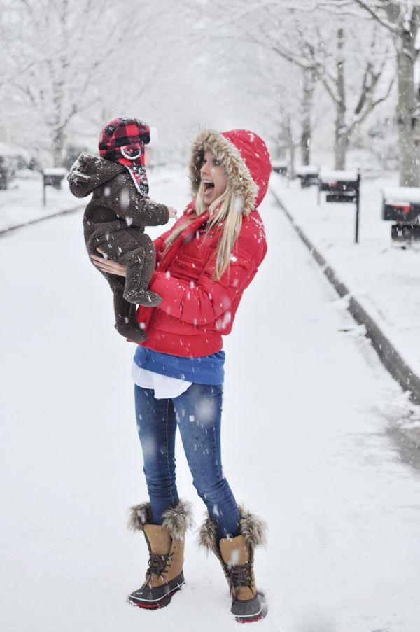 cutest snow coats // boots via Pink Pistachio