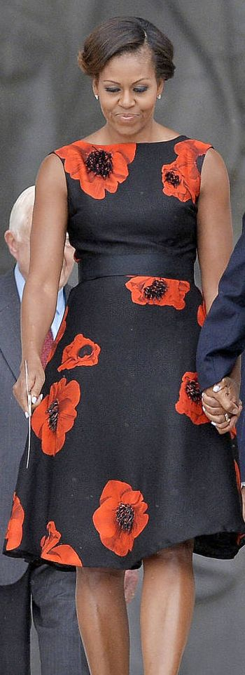 Michelle Obama wore a Tracy Reese dress.  http://www.harpersbazaar.com/celebrity/red-carpet-dresses/michelle-obama-turns-fifty