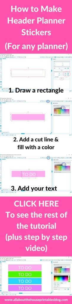 how to make planner stickers header erin condren vertical life planner eclp title functional free printable silhouette tutorial http://www.allaboutthehouseprintablesblog.com/how-to-make-your-own-custom-erin-condren-or-any-planner-header-title-section-planner-stickers-step-by-step-video-tutorial/
