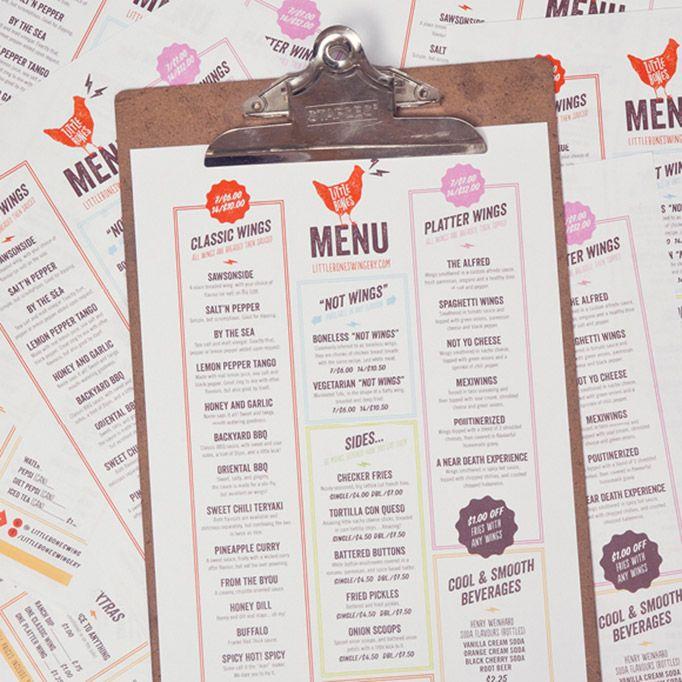One Plus One / Little Bones Wings #graphic #design #menu #restaurant