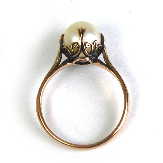 Super cute! Antique Art Nouveau Pearl Ring Cathedral Setting 10 Karat Rose Gold Size 6.75 circa 1910