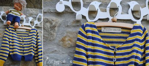 "yellow/blue striped knit cardigan for toddlers handmade in Italy by Atelier Faggi. Tricot righe bambola, fatto a mano da ""à propos de..."" Atelier Faggi."