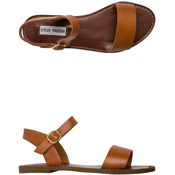 Steve Madden Dondi Sandal ($60) ❤ liked on Polyvore featuring shoes, sandals, flats, brown, brown flat shoes, ankle wrap flats, flat shoes, leather ankle strap sandals and brown shoes