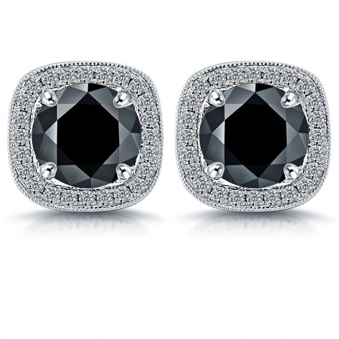 This Stylish Pair Of Diamond Studs Earrings Are Set With Ctw Round Brilliant Black Diamonds F Vs White In A Pave Squared