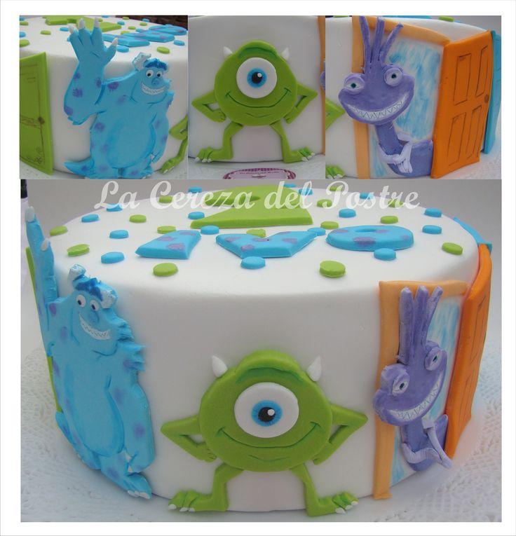 Monster Inc Torta  #cake #pastel #bolo #monsterinc #mike #Sully #randall #fondant #gumpaste #lacerezadelpostre