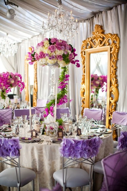 Weddings, Flowers, Tablescape, Pink Gold And Purple